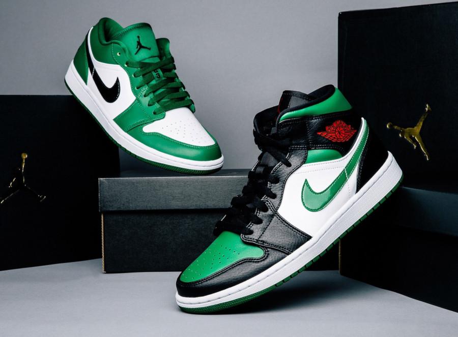 Air Jordan 1 Pine Mid Green Toe 554724-067