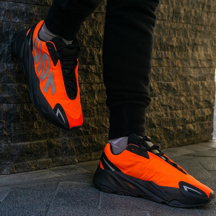 Kanye West x Adidas Yeezy Boost 700 MVNM Orange on feet (1)