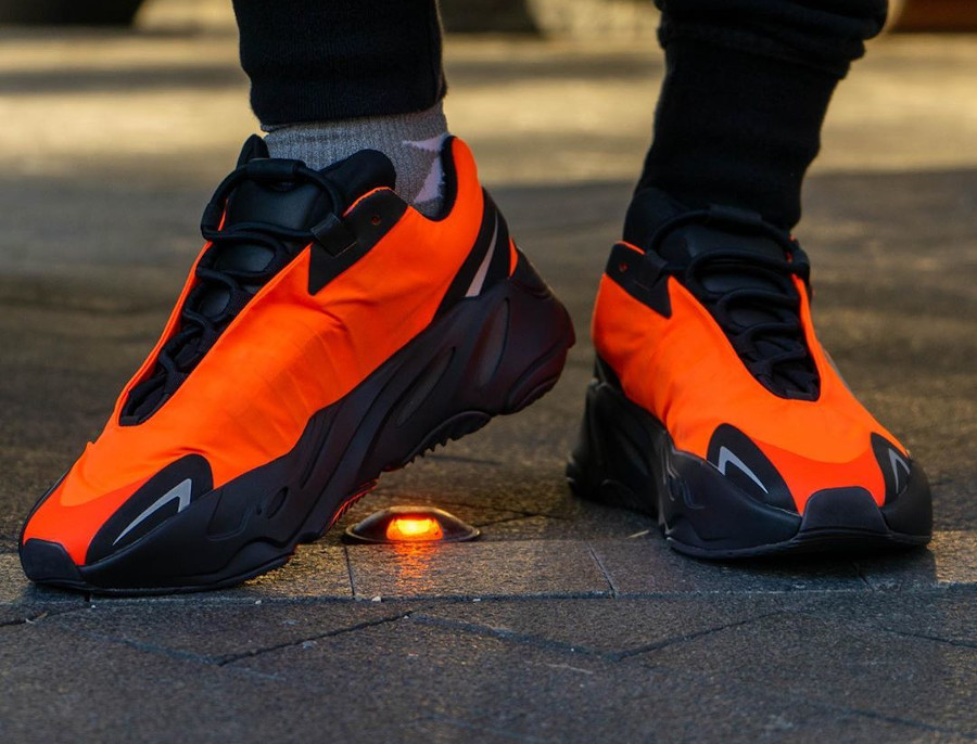 Kanye West x Adidas Yeezy Boost 700 MVNM Orange on feet (2)