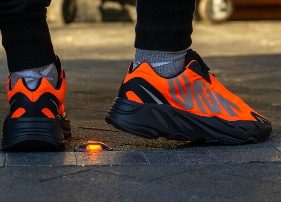 Kanye West x Adidas Yeezy Boost 700 MVNM Orange on feet (3)