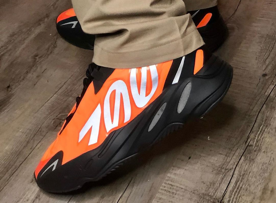 Kanye West x Adidas Yeezy Boost 700 MVNM Orange on feet (6)