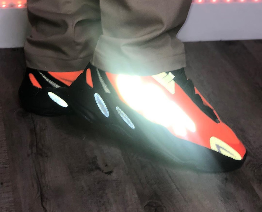 Kanye West x Adidas Yeezy Boost 700 MVNM Orange on feet (7)