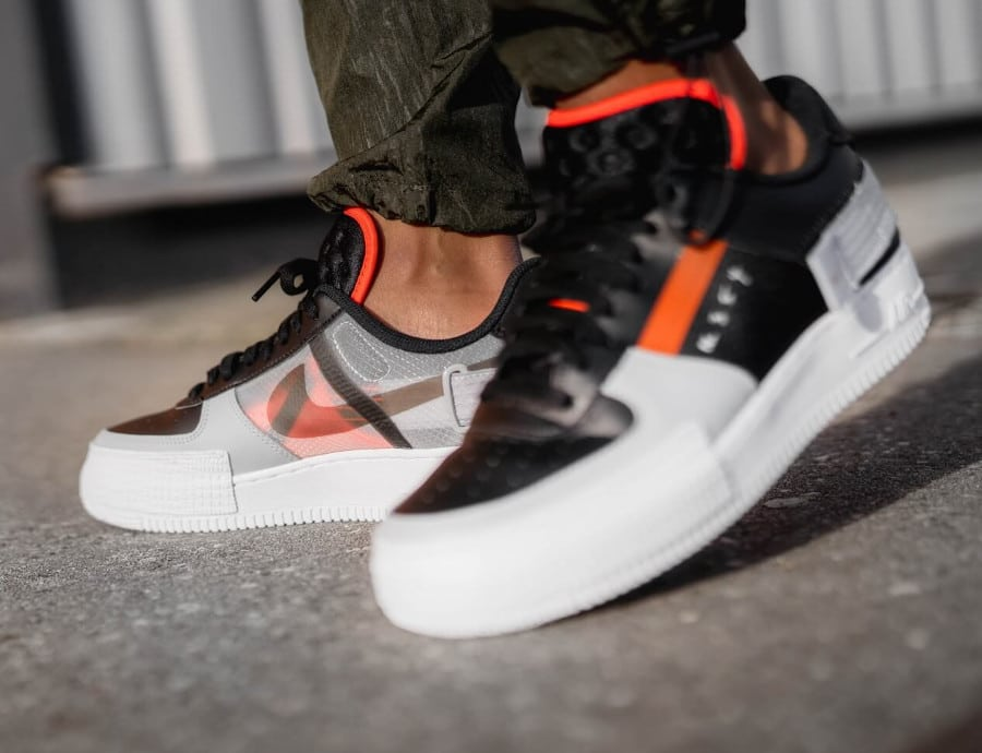 Nike Air Force 1 Low Drop Type Black Hyper Crimson Wolf Grey (4-1)