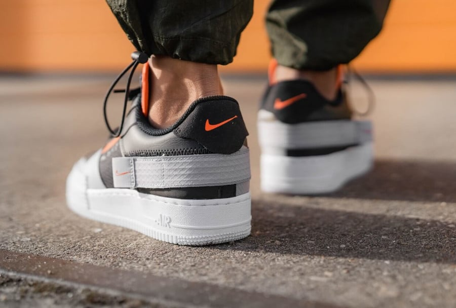 Nike Air Force 1 Low Drop Type Black Hyper Crimson Wolf Grey (4-2)
