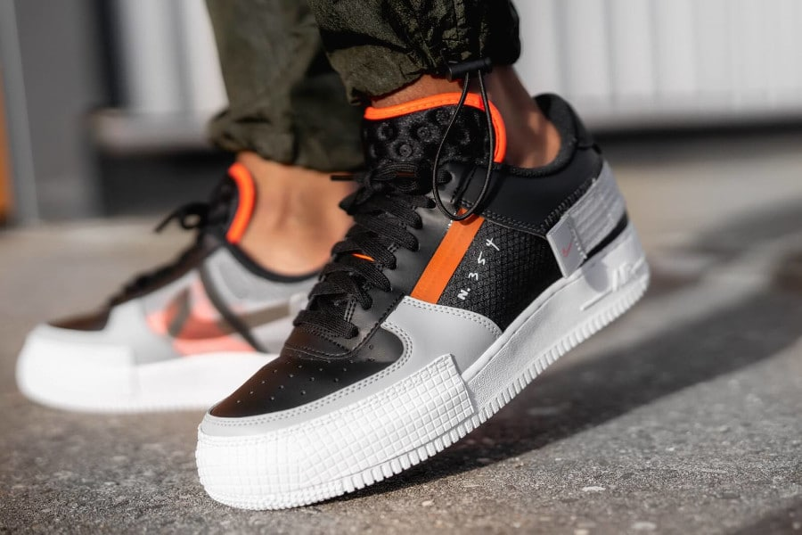 Nike Air Force 1 Low Drop Type Black Hyper Crimson Wolf Grey (4)
