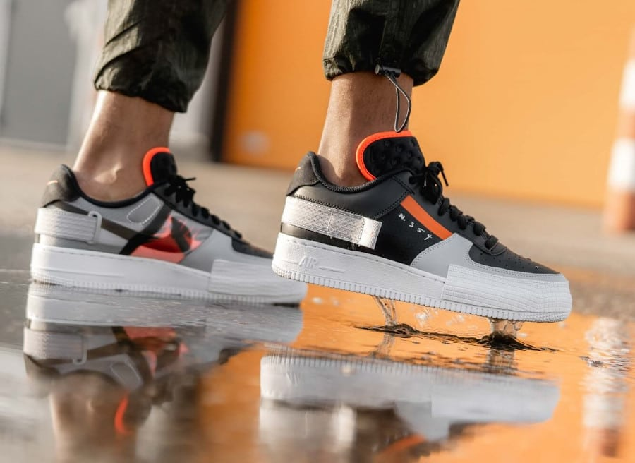 Nike Air Force 1 Low Drop Type Black Hyper Crimson Wolf Grey (5)