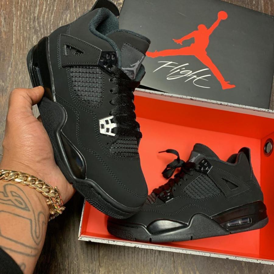 Nike Air Jordan 4 en suède noir (2)