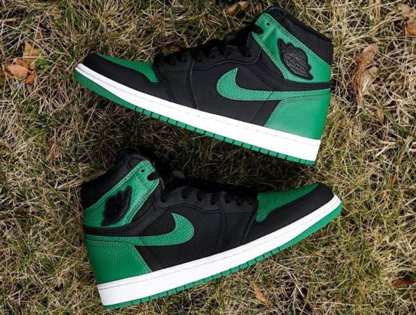 air jordan 1 montante noire vert pin (4)