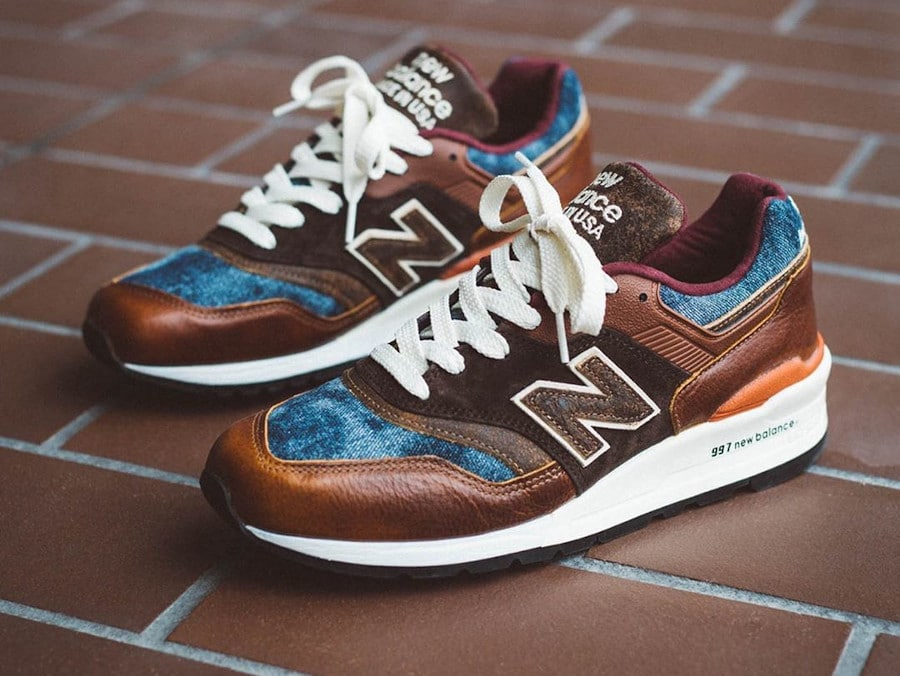 New Balance 997 'Elevated Basics' Brown Leather Blue Denim (Made in USA) (1)