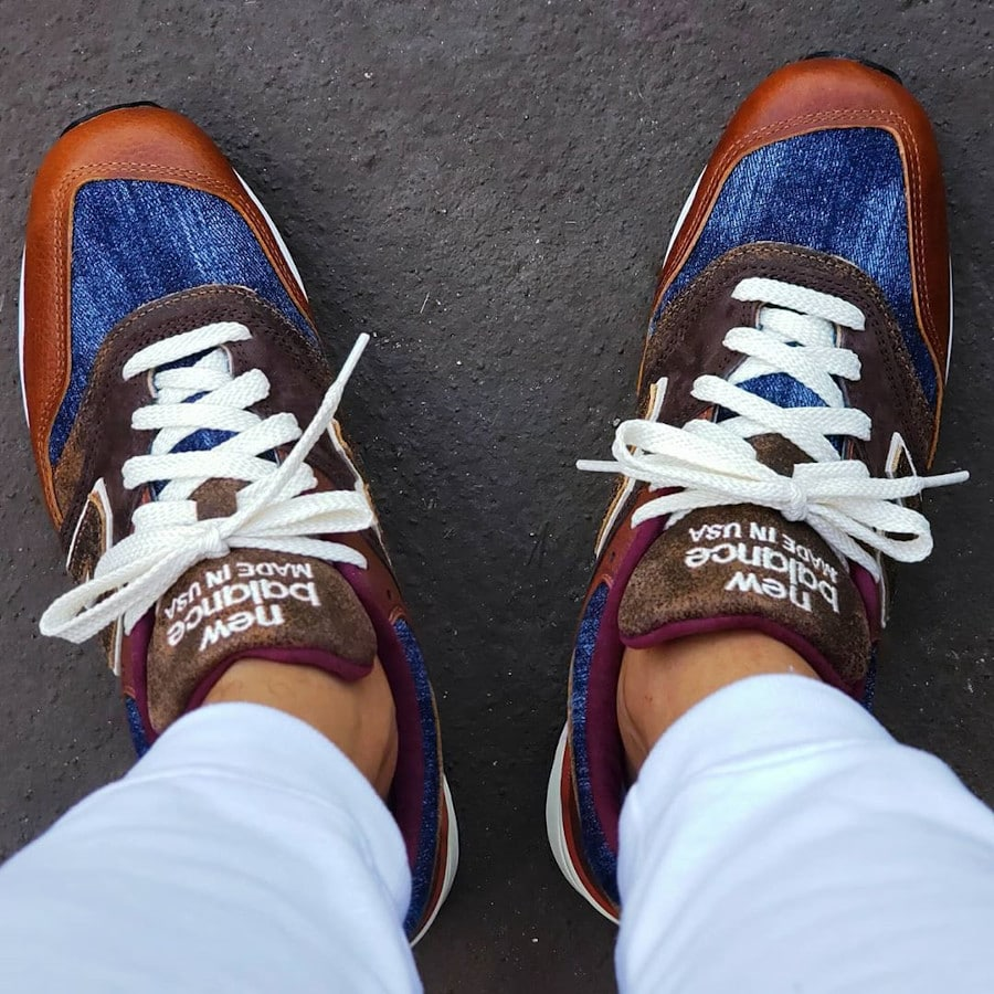 New Balance 997 'Elevated Basics' Brown Leather Blue Denim on feet (1)