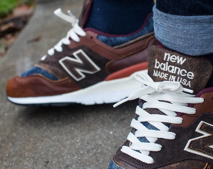New Balance 997 'Elevated Basics' Brown Leather Blue Denim on feet (2)