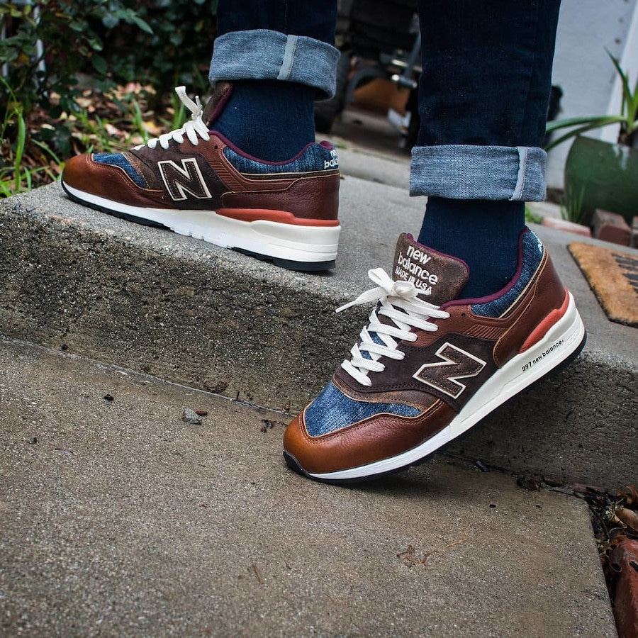 New Balance 997 'Elevated Basics' Brown Leather Blue Denim on feet (3)