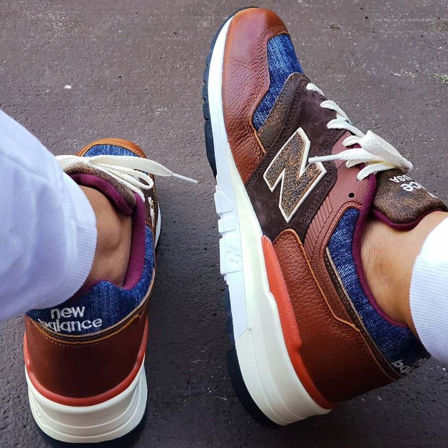 New Balance 997 'Elevated Basics' Brown Leather Blue Denim on feet (4)