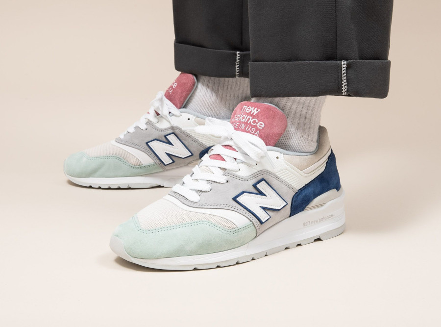 New Balance 997 'Less is More' Grey Green Pink on feet (1)