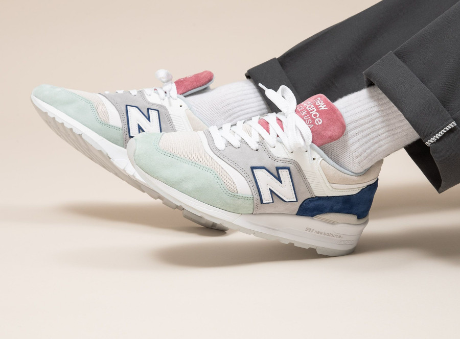New Balance 997 'Less is More' Grey Green Pink on feet (2)
