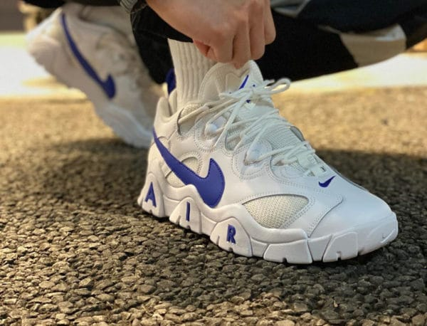 Nike Air Barrage Low White Hyper Blue on feet (2)
