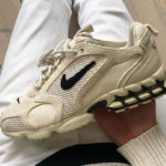 Stüssy x Nike Air Zoom Spiridon Cage 2 'Fossil' (Travis Scott)