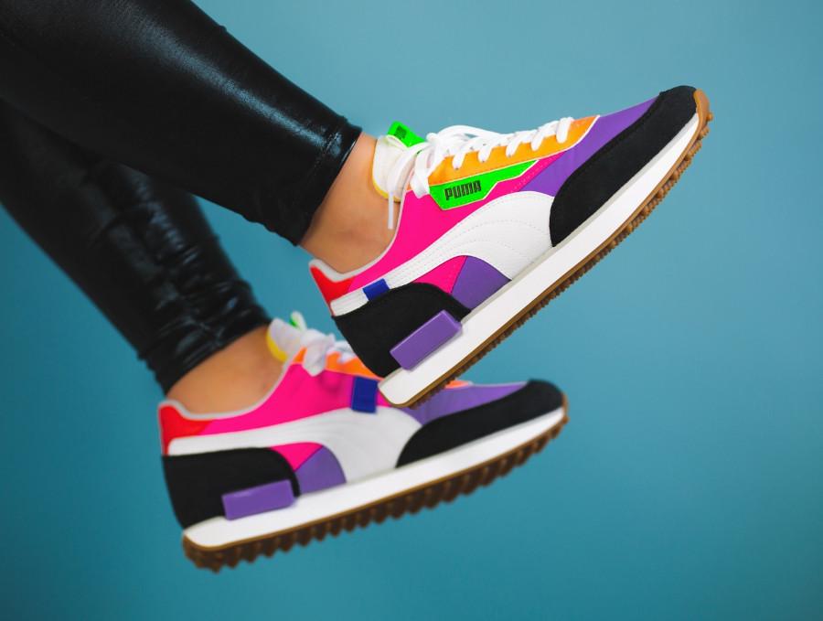 Puma-Future-Rider-Play-On-Wns-Multicolor-Luminous-Purple-Fluo-Pink-on-feet-2