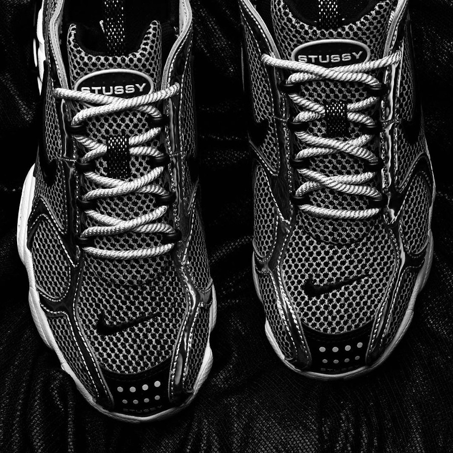 Stüssy x Nike Air Zoom Spiridon Cage 2 Pure Platinum Black (3)