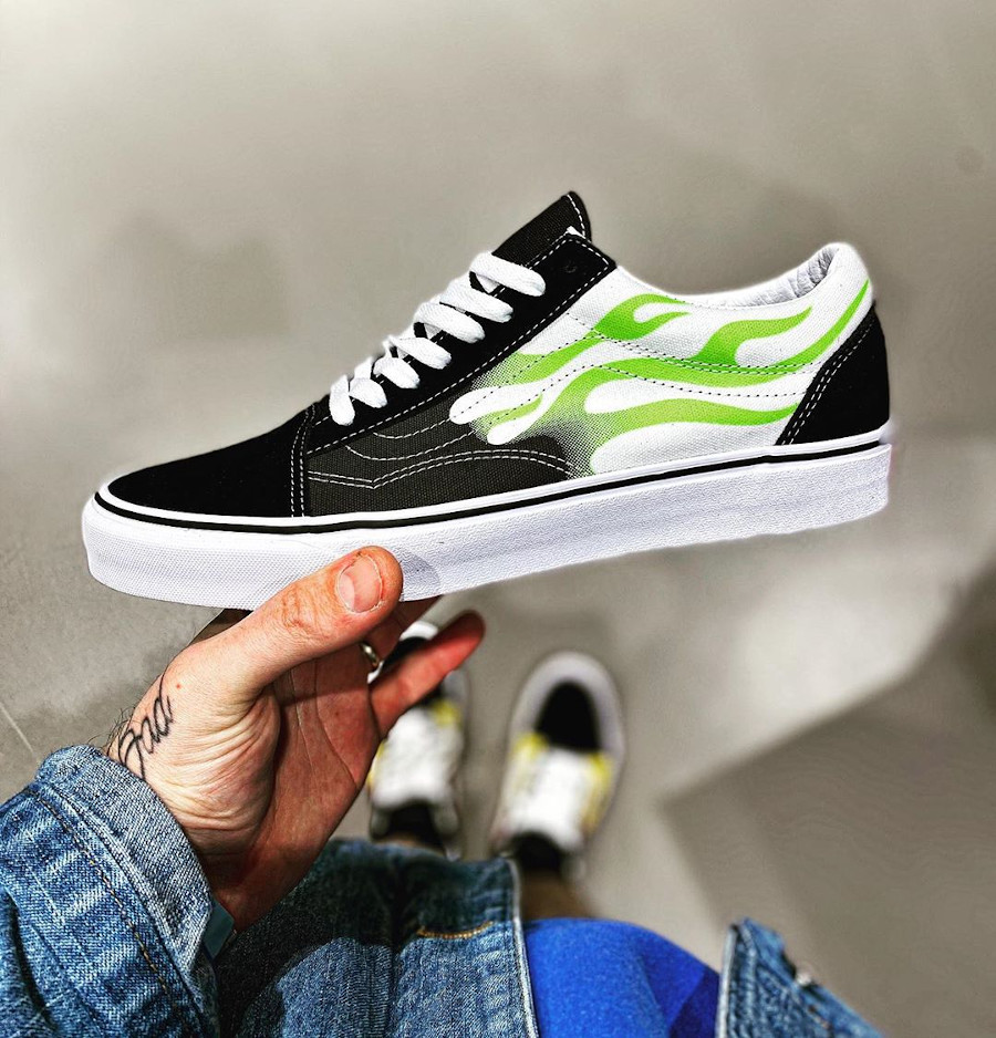 Vans Old Skool Neon Green Flame VN0A4U3BXEY