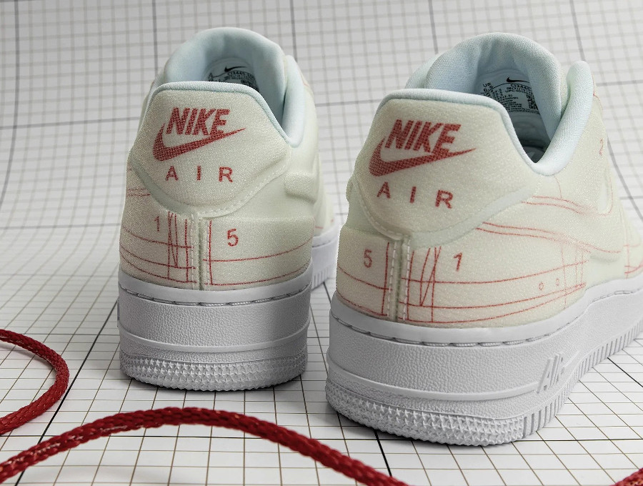Women's Nike Air Force 1 '07 Lux Schematic Summit White University Red (1)
