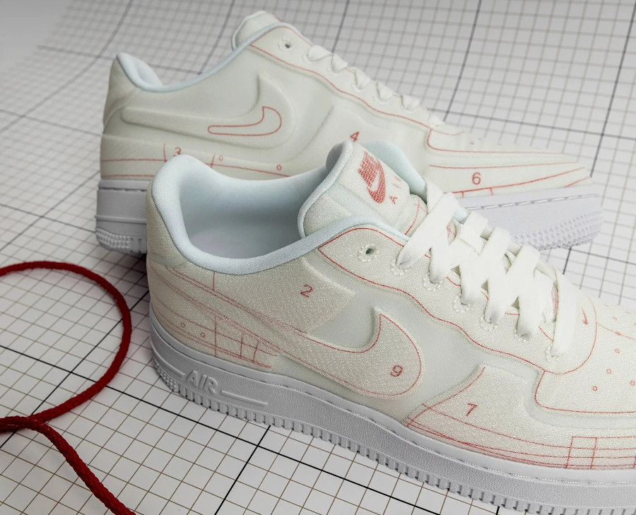 Women's Nike Air Force 1 '07 Lux Schematic Summit White University Red (2)