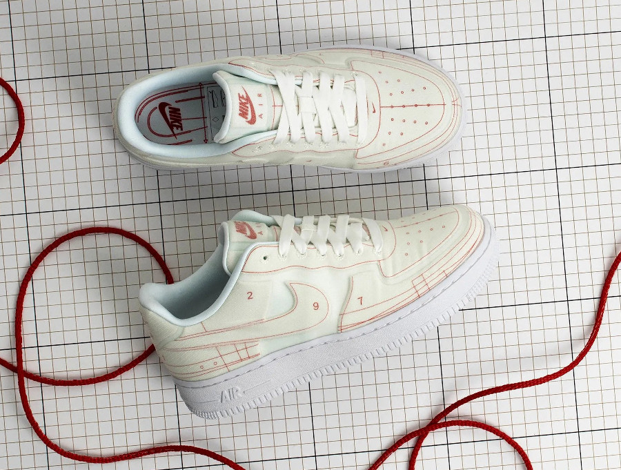 Women's Nike Air Force 1 '07 Lux Schematic Summit White University Red (3)