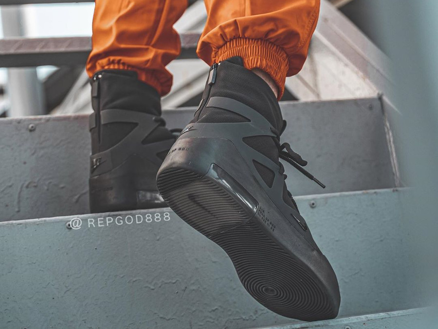Jerry Lorenzo x Nike Air Fear of God 1 Triple Black on feet (1)