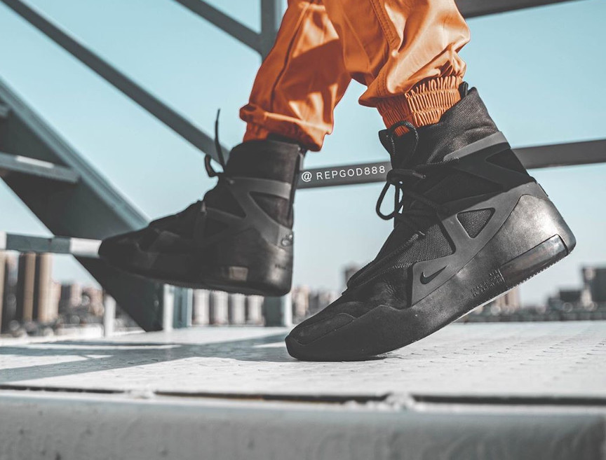 Jerry Lorenzo x Nike Air Fear of God 1 Triple Black on feet (2)