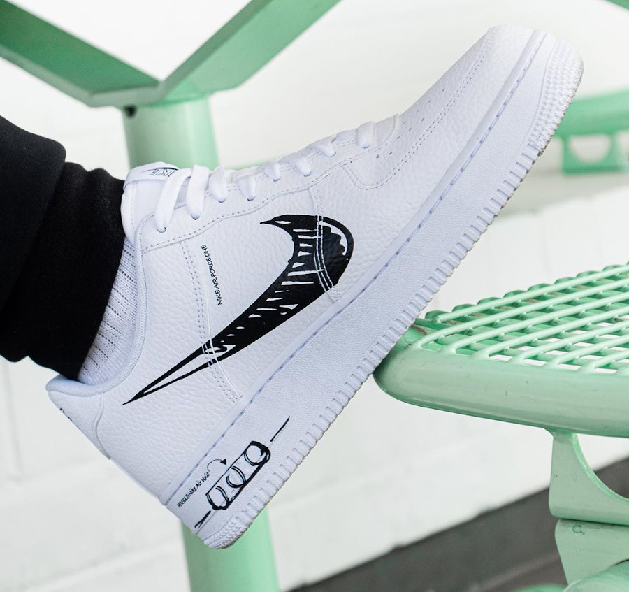 Nike Air Force 1 LV8 Utility Sketch Pack 'White Black' (7-1)
