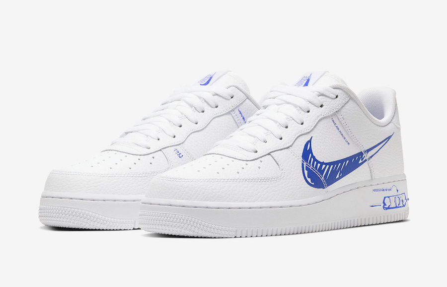 Nike Air Force 1 LV8 Utility 'Sketch Pack' White Racer Blue (2)