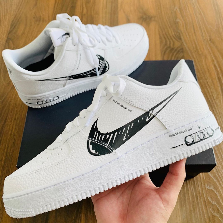 Nike Air Force 1 LV8 Utility Sketch White Black CW7581-101