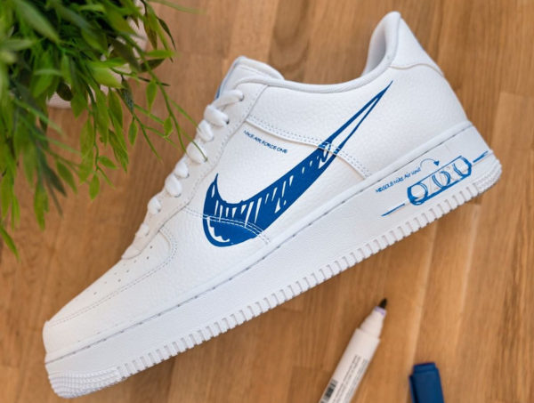 Nike Air Force 1 Sketch Schematic Racer Blue CW7581-100 (couv)