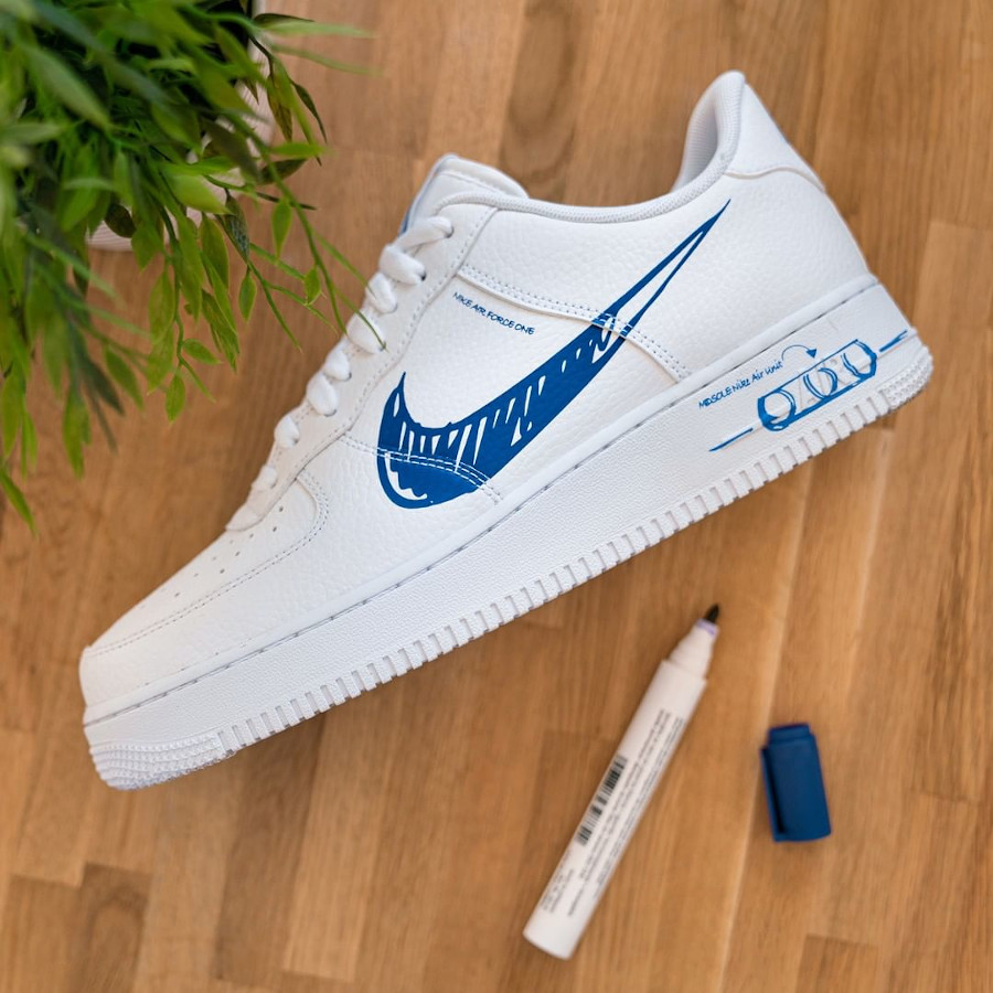 Nike Air Force 1 Sketch Schematic Racer Blue CW7581-100