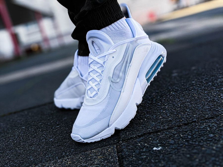 Nike Air Max 2090 Triple White on feet (1)