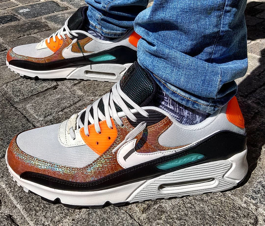 Nike Air Max 90 Gold Reptile Snakeskin Iridescent CW2656