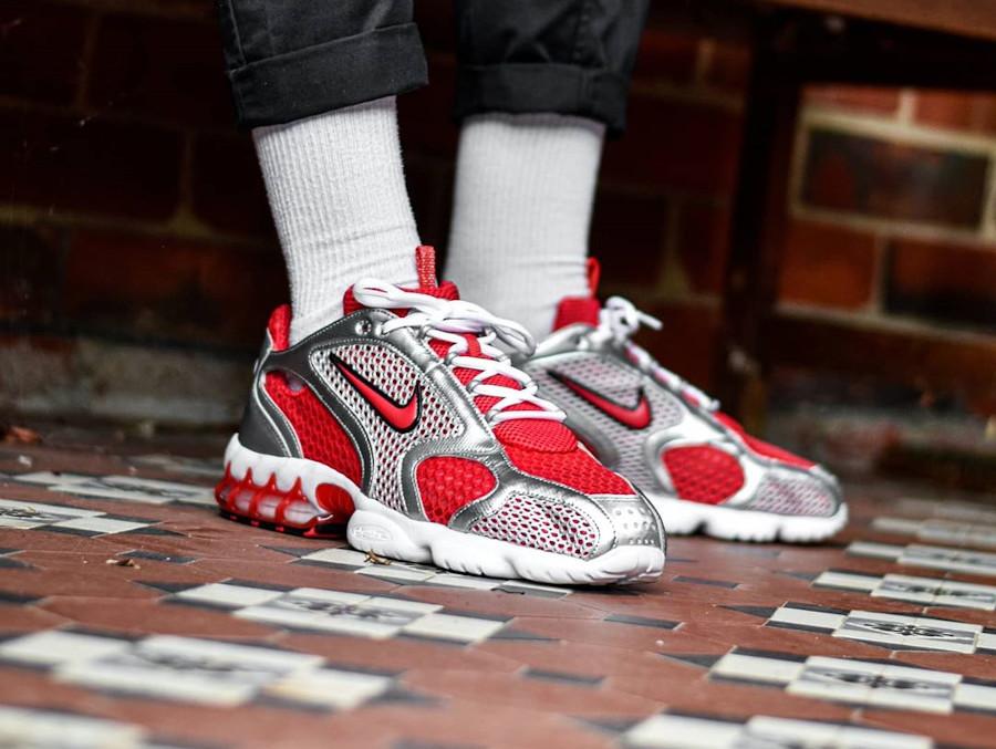 Nike Air Zoom Spiridon Cage 2 rouge et gris métallique (2)