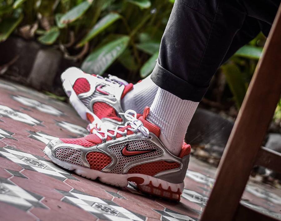 Nike Air Zoom Spiridon Cage 2 rouge et gris métallique (3)