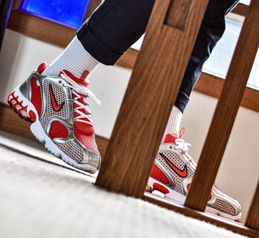 Nike Air Zoom Spiridon Cage 2 rouge et gris métallique (4)