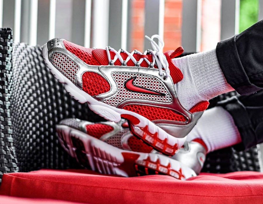 Nike Air Zoom Spiridon Cage 2 rouge et gris métallique (5)