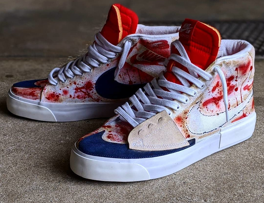 Nike Blazer Mid Edge Hack Pack Blood Stains (style Kill Bill)