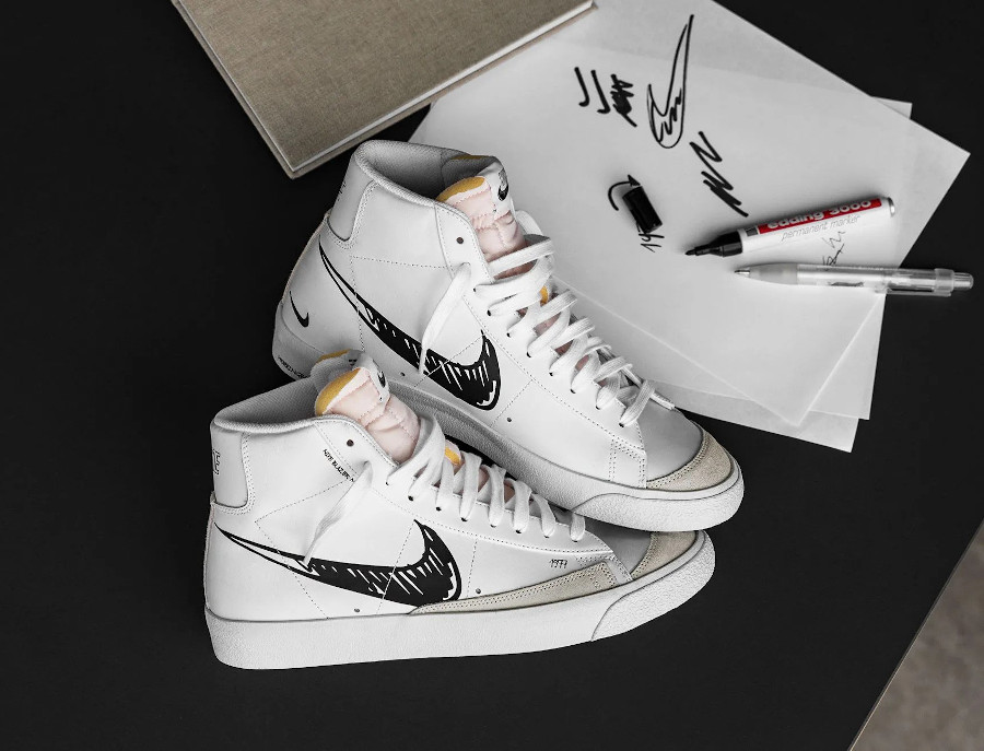 Nike Blazer Mid Vintage '77 'Sketch Pack' White Black Platinum Tint (5-1)
