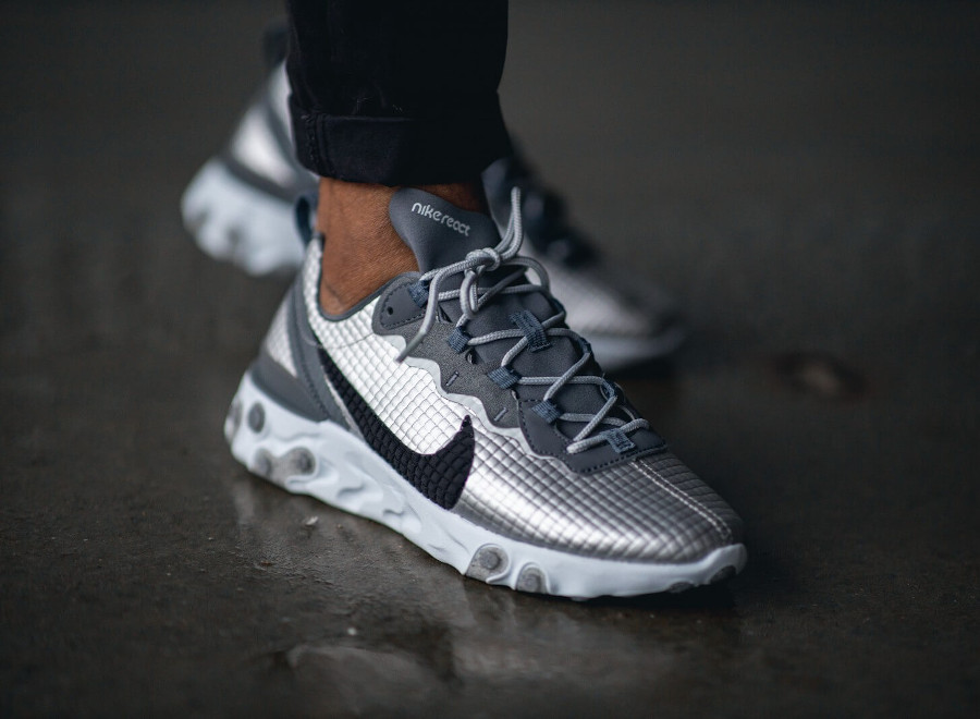 Nike React Element 55 Premium Metallic Silver Pure Platinum en solde