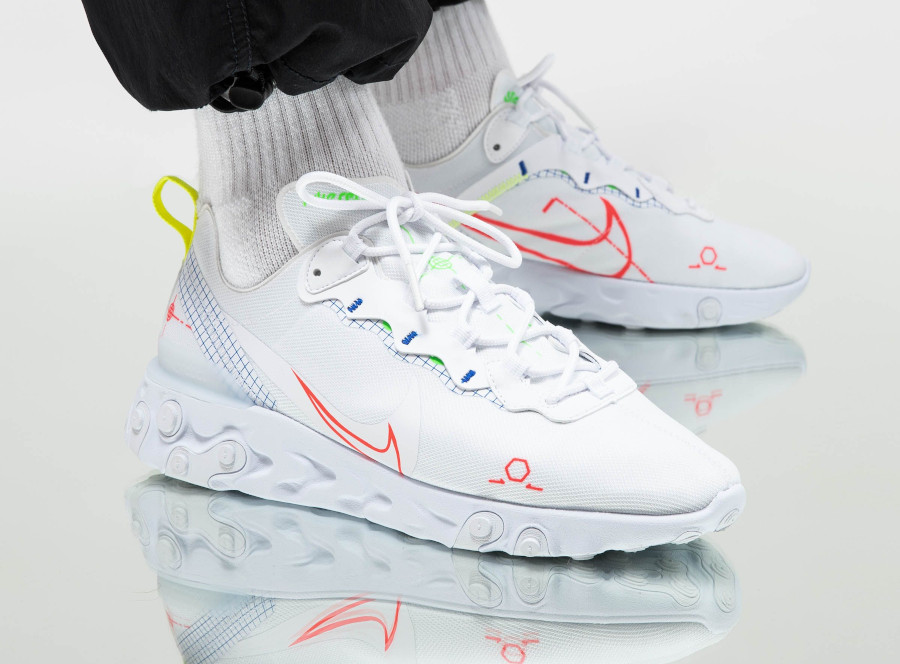 Nike React Element 55 Schematic White Laser Crimson Racer Blue pas cher