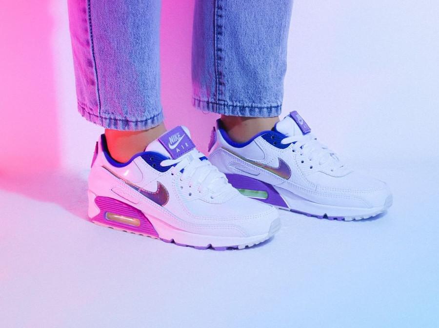 Nike Wmns Air Max 90 SE Easter 2020 (Multicolor Purple Nebula) (5)