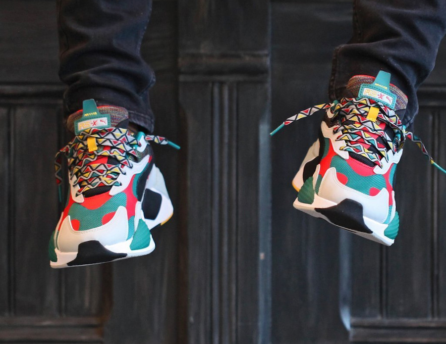 Puma RS-X³ Afrobeat Mix Teal Green on feet (1)