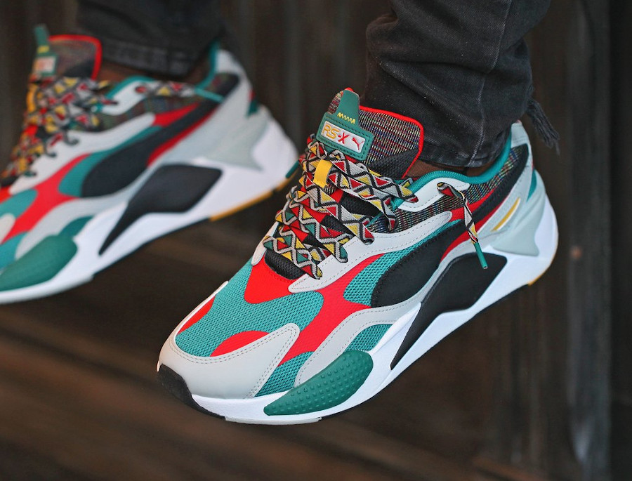 Puma RS-X³ Afrobeat Mix Teal Green on feet (2)