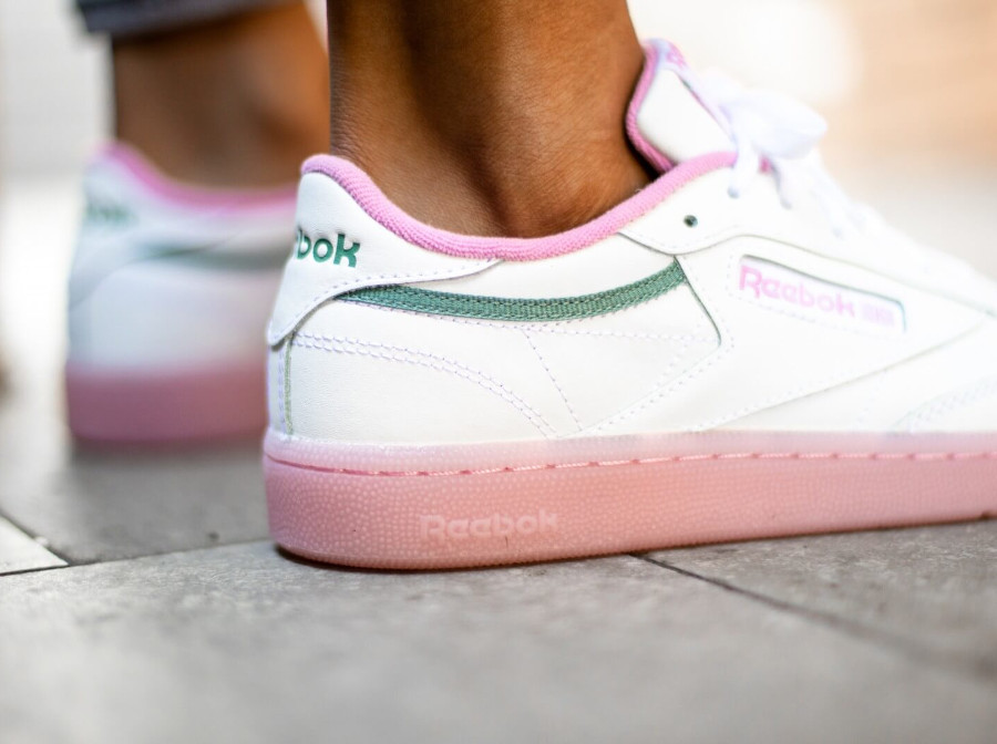 Women's Reebok Club C 85 'White Green Slate Jasmine Pink' (1)