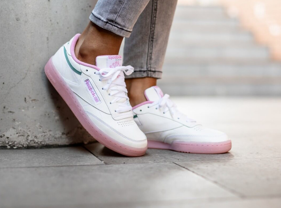 Women's Reebok Club C 85 'White Green Slate Jasmine Pink' (2)