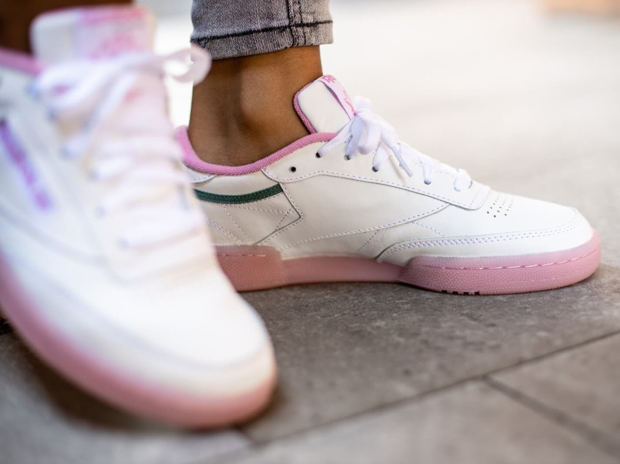 Women's Reebok Club C 85 'White Green Slate Jasmine Pink' (3)